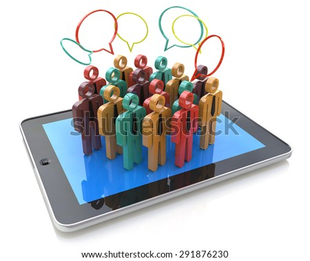 Creative social media, internet communication and business marketing corporate web concept: group of 3D color people figures on Tablet PC Computer - stock photo