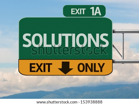 Creative Solutions Exit Only, Road Sign - stock photo