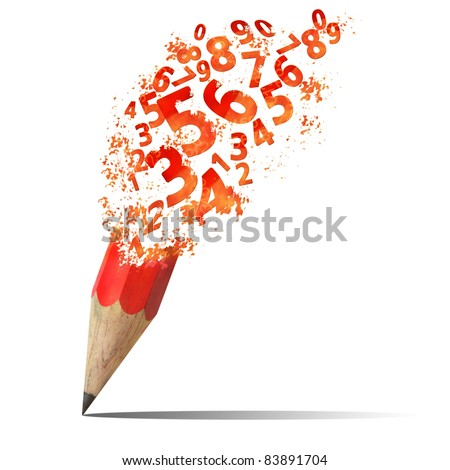 creative splash  pencil with red number isolate on white - stock photo