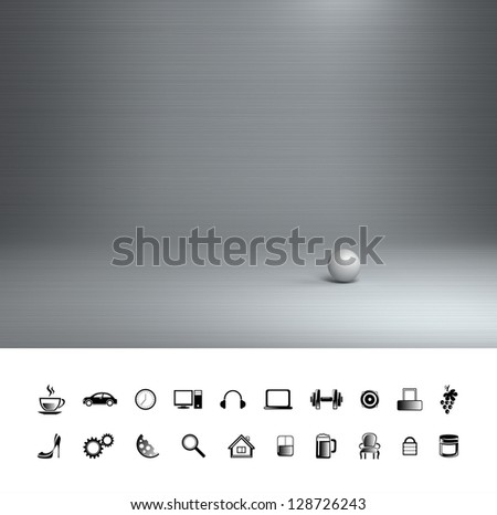 Creative steel background. Proffesional photo studio place.
