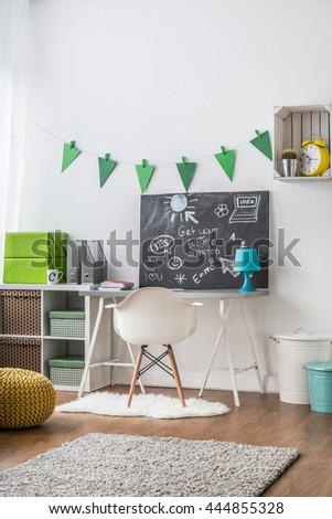 Creative study room idea for teenager with blackboard