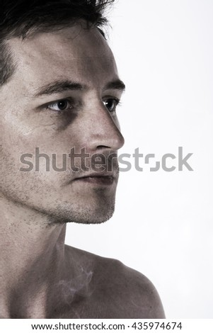Creative style portrait profile of a man