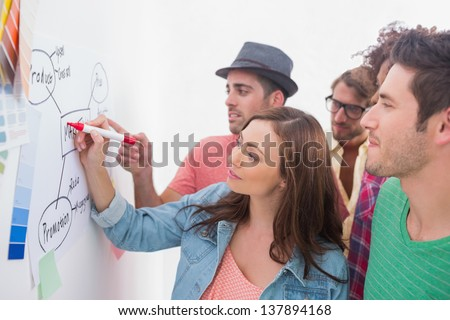 Creative team watching colleague add to flowchart on whiteboard with colour samples - stock photo