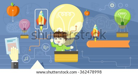 Creative thinking design flat concept. Creative concept creative ideas creative design, creative background, idea business, technology and information, think communication organization. Raster version - stock photo