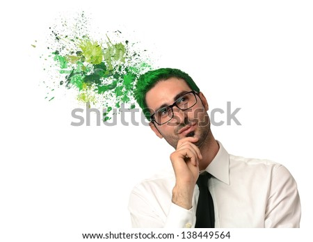 Creative thinking green of a businessman - stock photo