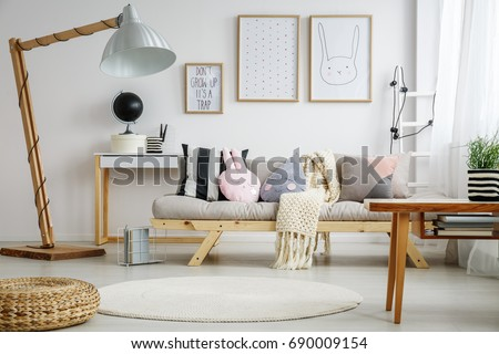 fun living room furniture. Creative trendy fun living room for young child Dot Pattern Sofa Stock Images  Royalty Free Vectors