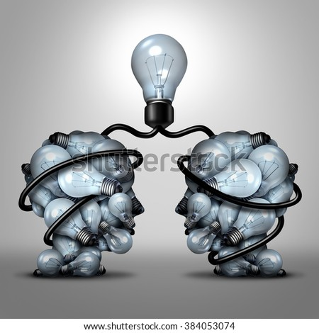 Creative unity partnership light bulb as two groups of lightbulb objects shaped as a human head joining together for a team project as a concept of inspiration. - stock photo