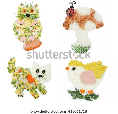 creative vegetable food meal with rice cat form collage - stock photo
