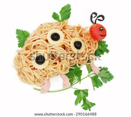 creative vegetable food meal with spaghetti butterfly form - stock photo