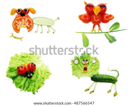 creative vegetable food snack with tomato funny form