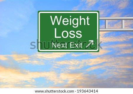 Creative Weight Loss Exit Only, Road Sign  - stock photo
