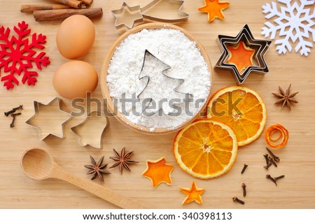Creative winter time baking background. Christmas holidays concept