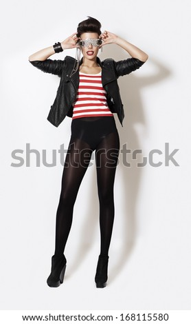creative woman in glasses and pantyhose - stock photo