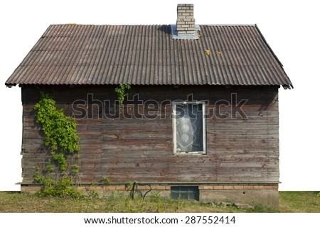 Creative wooden rural shed with one window and wild grapes on a wall. Isolated with patch