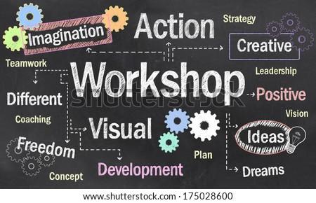 Creative Workshop with Chalk on Blackboard - stock photo