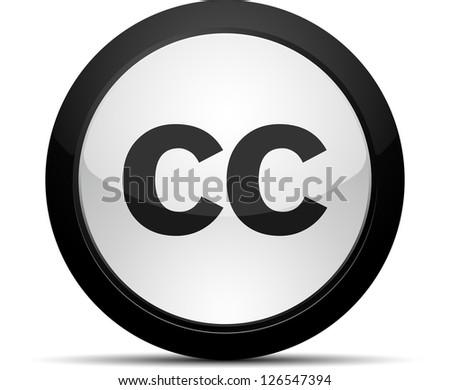 Creativecommons CC button - stock photo