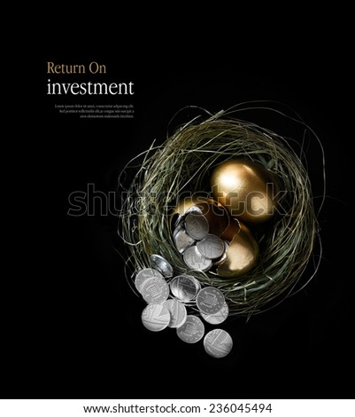 Creatively lit concept image for pension fund management and return on investments. Broken gold goose eggs in a nest spilling silver coins. Aerial view with copy space. - stock photo