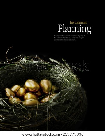 Creatively lit golden eggs in a genuine bird nest representing savings and investments. Concept image for retirement planning, investments and pensions etc. Copy space.