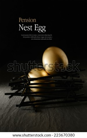 Creatively lit golden goose eggs placed in a stark, black nest against a dark background. Concept image for pension savings. Copy space. - stock photo