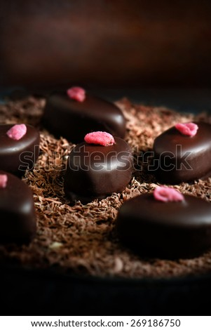 Creatively lit macro image with shallow depth of field of exotic chocolates on a bed of chocolate flakes. The perfect image for your dessert menu image cover. Copy space. - stock photo