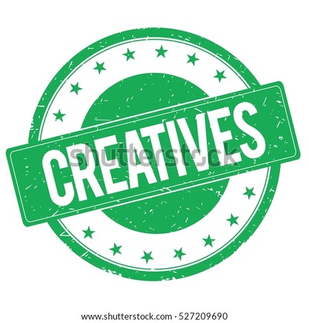 CREATIVES stamp sign text word logo green.