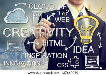 Creativity and cloud computing concept with city backdrop - stock photo