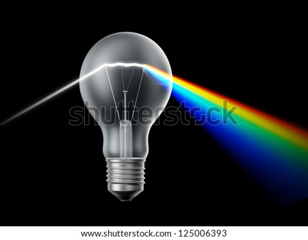 Creativity and innovation concept - bulb acting as a prism