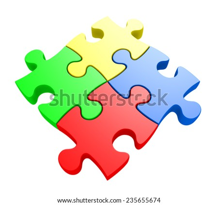 Creativity and problem solving concept of four jiwsaw puzzle pieces connected together - stock photo