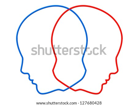 Creativity concept. Contours of two color head on a white background - stock photo