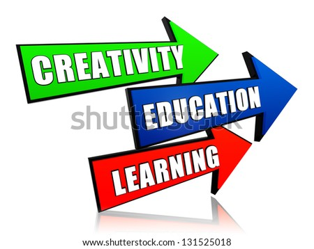 creativity, education, learning - text in 3d color arrows, business concept - stock photo