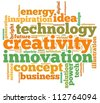 Creativity info-text graphics and arrangement concept on white background (word cloud) - stock