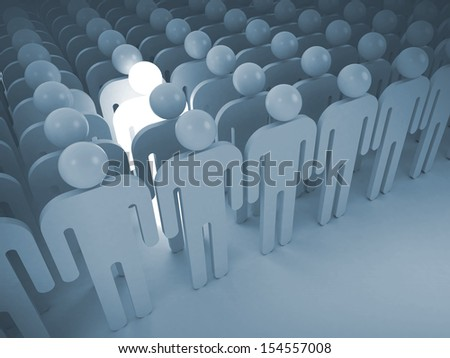 Creativity metaphor concept. 3d render illustration with lighting man in crowd of schematic people - stock photo