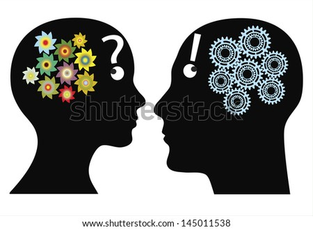 Creativity or rationality? Man and woman think in different ways, emotional versus logically - stock photo