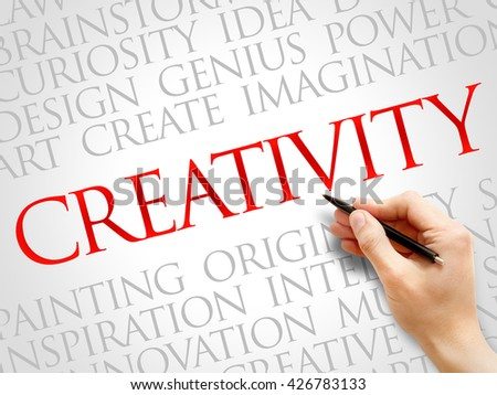 Creativity word cloud, business concept