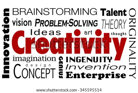 Creativity word collage with innovaiton, ideas, imagination, vision, problem solving, design, concepts, art, thought and originality - stock photo
