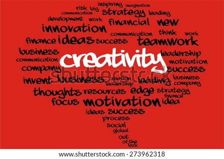 CREATIVITY word on speech bubble with business concept - stock photo