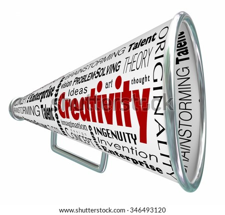 Creativity words on a bullhorn or megaphone announcing you as inventive, innovative, imaginative and inspired - stock photo