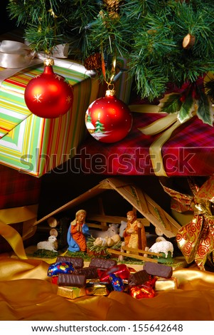 Creche at Christmas over white - stock photo