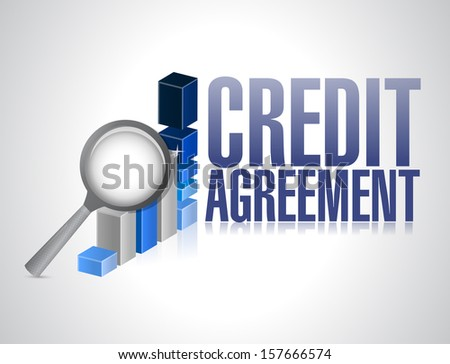 credit agreement business sign illustration design over a white background - stock photo