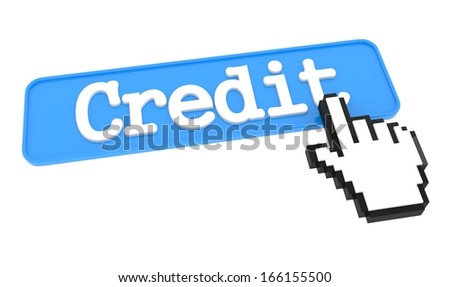 Credit Button with Hand Cursor. Business Concept. - stock photo