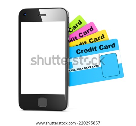Credit card and amart phone.
