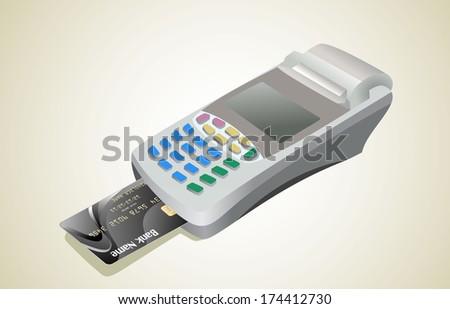 Credit card and card reader - stock photo