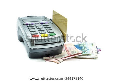Credit card and card reader machine with banknotes , isolated on white background - stock photo