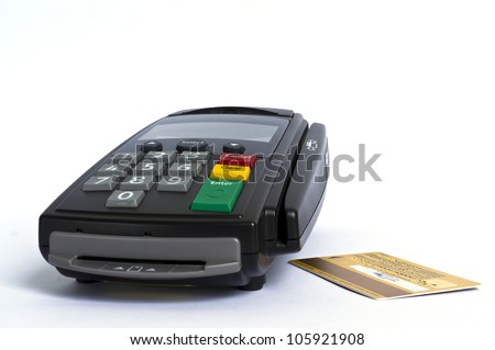 Credit card and card  reader on white background - stock photo