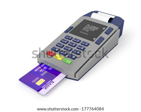 Credit card and card reader on white background