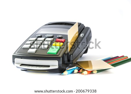 Credit card and card reader with pencils , isolated on white background - stock photo