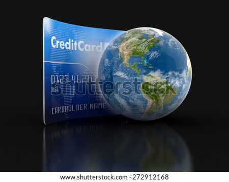 Credit Card and Globe (clipping path included) Elements of this image furnished by NASA - stock photo