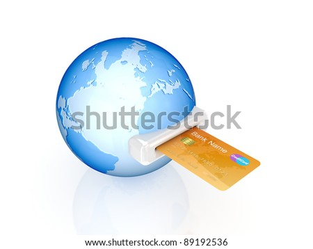 Credit card and globe.Isolated on white background.3d rendered. - stock photo