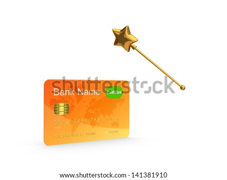 Credit card and golden magic wand.Isolated on white.3d rendered. - stock photo