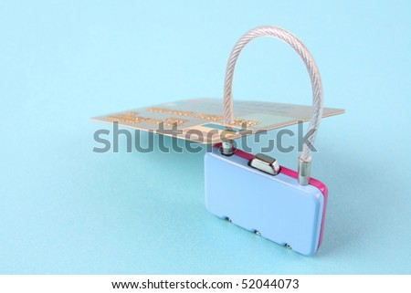 credit card and lock - stock photo